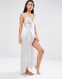 Атласное платье-сорочка макси ASOS - Серебряный