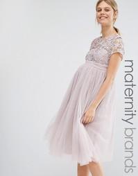 Платье мини для беременных с кружевным топом Little Mistress Maternity