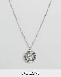 Ожерелье с подвеской-монеткой Reclaimed Vintage - Серебряный