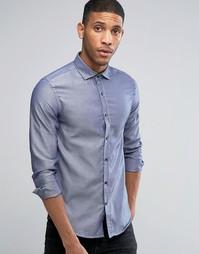 Рубашка слим с длинными рукавами в горошек Selected - Синий