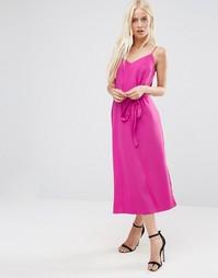Платье-сорочка миди с завязкой на талии ASOS - Ярко-розовый