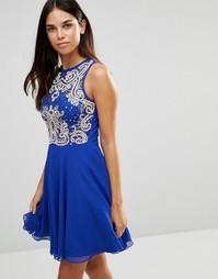 Короткое приталенное платье с кружевным лифом TFNC - Синий