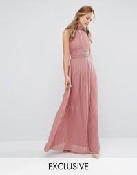 Платье макси с плиссировкой и кружевной отделкой TFNC WEDDING