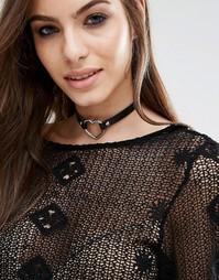Короткое ожерелье с сердечком Missgudied - Черный Missguided