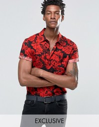 Рубашка классического кроя с принтом роз Reclaimed Vintage - Черный
