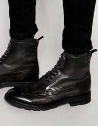 Кожаные ботинки на шнуровке Base London Valiant - Серый