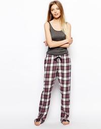 Классические пижамные штаны в клетку Esprit - Красный виноград