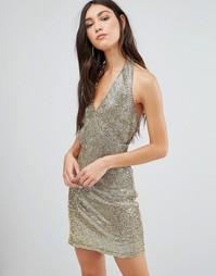 Платье-футляр с лямкой через шею Glamorous - Золотой