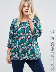 Блузка с принтом Junarose Plus - Синий разноцветный