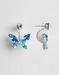 Серьги-подвески с кристаллами-бабочками Swarovski Krystal