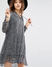 Maison Scotch Mini Length Sheer Dress With Peplum - Серый