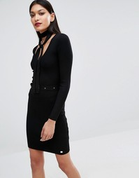 Платье-джемпер на пуговицах с завязкой Michelle Keegan Loves Lipsy