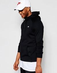Современное черное худи с молнией на груди Nike 805132-010 - Черный