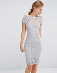 Кружевное платье с короткими рукавами Paper Dolls - Светло-серый