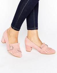Замшевые лоферы на среднем каблуке с бахромой Park Lane - Розовый