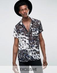 Шифоновая рубашка с леопардовым принтом Reclaimed Vintage - Черный