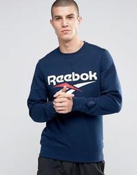 Синий свитшот с круглым вырезом и логотипом Reebok Vector AZ9537