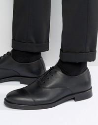 Черные кожаные туфли со вставкой на носке Selected Marc - Черный