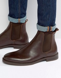 Коричневые кожаные ботинки челси Selected Marc - Коричневый
