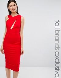 Платье-футляр миди без рукавов TTYA - Огненно-красный Taller Than Your Average