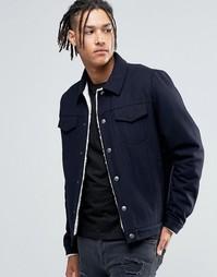 Темно-синяя полушерстяная куртка с подкладкой борг ASOS - Темно-синий