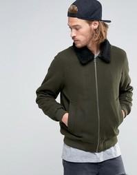 Куртка-пилот из смешанной шерсти цвета хаки с воротником борг ASOS