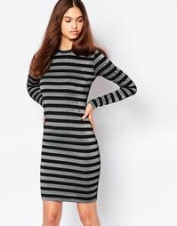 Облегающее платье в полоску с длинными рукавами Minimum - 999 черный