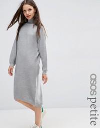 Платье миди с высокой горловиной ASOS PETITE - Умеренный серый