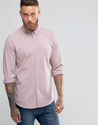 ASOS Jersey Shirt With Long Sleeves In Dusty Pink - Розовый
