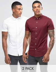 ASOS Skinny Twill Shirt 2 Pack In White And Burgundy SAVE 17%