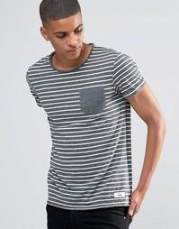 Полосатая футболка с контрастным карманом и отворотами на рукавах ASOS Esprit