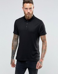 Черная легкая футболка‑поло облегающего кроя в рубчик ASOS - Черный