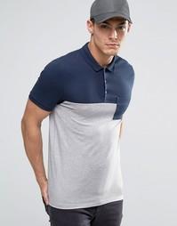Темно-синее/серое меланжевое поло с карманом ASOS