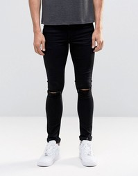 Черные супероблегающие джинсы с рваными коленями ASOS - Черный
