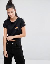 Зауженная футболка в стиле ретро с отделкой лентой Ellesse - Черный