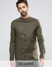 Рубашка суперузкого кроя с воротником на пуговицах Only & Sons - Хаки