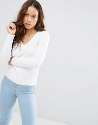 Облегающая меланжевая футболка с V-образным вырезом ASOS - Белый