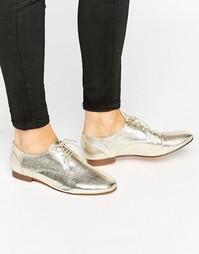 Туфли на шнуровке и плоской подошве ASOS MISSION - Золотой