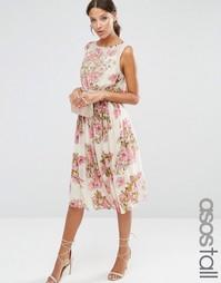 Платье миди с цветочным принтом и декорированным лифом ASOS TALL SALON