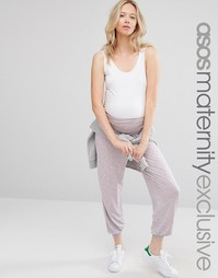 Сиреневые гаремные брюки для беременных с принтом ASOS Maternity LOUNG