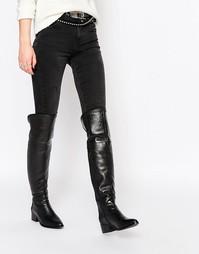 Черные кожаные ботфорты на каблуке Faith Nash - Черный