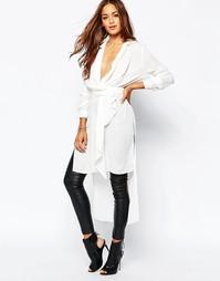 Длинная рубашка с запахом и завязкой на поясе Missguided - Белый