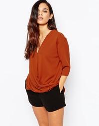 Блузка с запахом спереди AX Paris - Красно-бурый