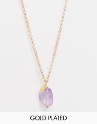 Позолоченное ожерелье‑цепочка длинной 60 см с аметистом Mirabelle