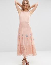 Платье-сорочка макси с неоновой вышивкой ASOS PREMIUM - Розовый
