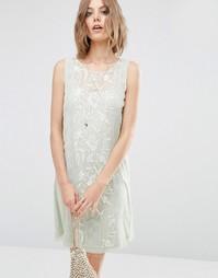 ASOS PREMIUM Sleeveless Dress with Embroidery - Мятный