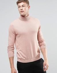 ASOS Cotton Roll Neck Jumper in Pink - Розовый