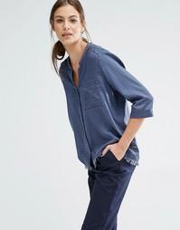 Блузка с V-образным вырезом, карманом и бахромой по краю Boss Orange E