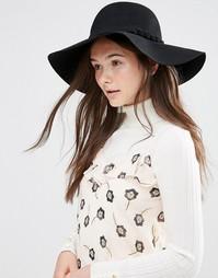 Шляпа с широкими полями в стиле 70-х Alice Hannah - Черный