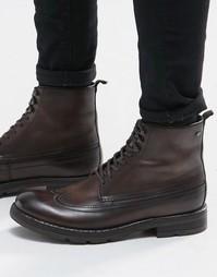 Кожаные ботинки на шнуровке Base London Valiant - Коричневый